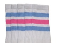 Knee high socks with Baby Blue-BubbleGum Pink stripes