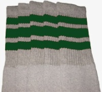 Knee high Grey socks with Green stripes