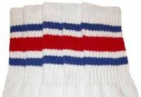 Knee high socks with Royal Blue-Red stripes