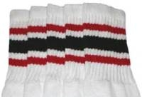Knee high socks with Red-Black stripes