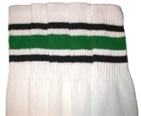 Knee high socks with Black-Green stripes