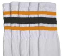 Knee high socks with Gold-Black stripes