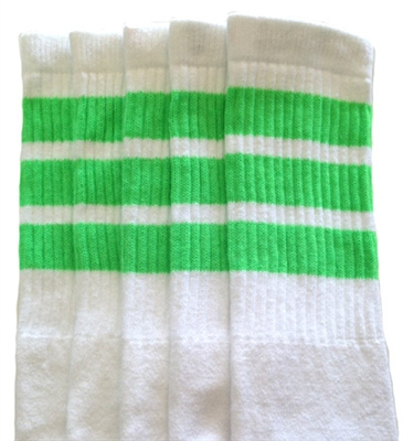 Knee high socks with Neon Green stripes