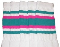 Knee high socks with Teal-Hot Pink stripes