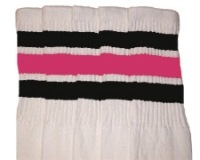 Knee high socks with Black-BubbleGum Pink stripes