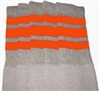 Knee high Grey socks with Orange stripes
