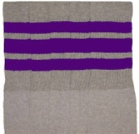 Knee high Grey socks with Purple stripes