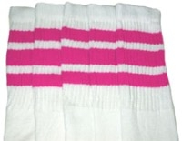 Knee high socks with Hot Pink stripes