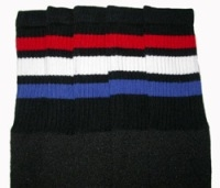 Knee high socks with Red-White-Royal Blue stripes