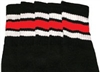 Knee high socks with White-Red stripes