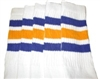 Knee high socks with Royal Blue-Gold stripes