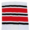 Knee high socks with Black-Red stripes
