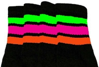 Knee high socks with Neon Green-Hot Pink-Orange stripes