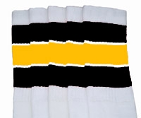 Knee high socks with Black-Gold stripes