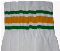 Knee high socks with Green-Gold stripes