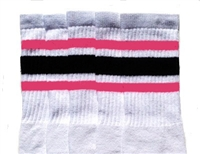 Knee high socks with BubbleGum Pink-Black stripes
