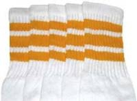 Knee high socks with Gold stripes