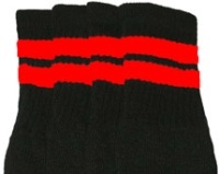 Knee high socks with Red stripes