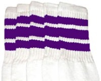 Knee high socks with Purple stripes