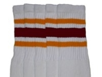 Knee high socks with Gold-Maroon stripes