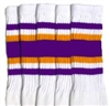 Knee high socks with Purple-Gold stripes