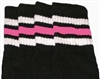 Knee high socks with White-BubbleGum Pink stripes