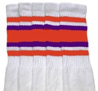 Knee high socks with Orange-Purple stripes