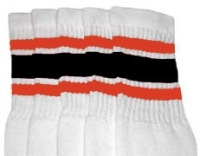 Knee high socks with Orange-Black stripes