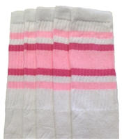 Knee high socks with Baby Pink-BubbleGum Pink stripes