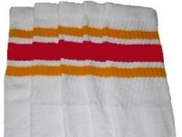 Knee high socks with Gold-Red stripes