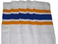 Knee high socks with Gold-Royal Blue stripes