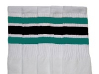 Knee high socks with Teal-Black stripes