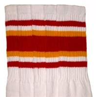 Over the knee socks with Red-Gold stripes