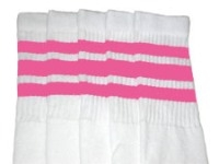 Over the knee socks with BubbleGum Pink stripes