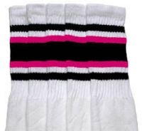 Over the knee socks with Black-Hot Pink stripes