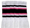 Over the knee socks with Black-BubbleGum Pink stripes