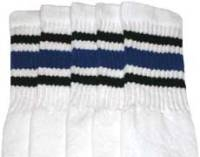 Over the knee socks with Black-Royal Blue stripes