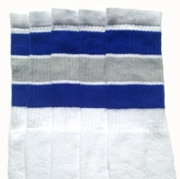 Over the knee socks with Royal Blue-Grey stripes