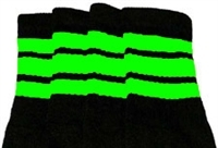 Over the knee socks with Neon Green stripes