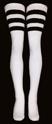 Thigh high socks with Black stripes