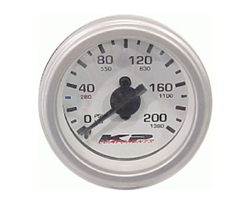 "KP Component 200 Psi Single Needle 2"" DIA White Face Gauge Back Light, sold each!"