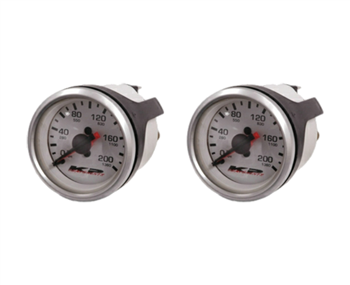 "[2] Pack KP Component 200 Psi Dual Needle 2"" DIA White Face Gauge with 1/8"" NPT Male Fittings, sold each!"