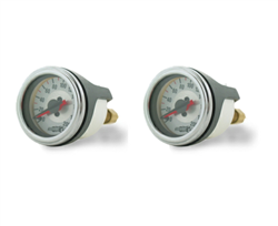 "[2] Pack Air Lift Dual Needle 200 Psi Max 2"" White Face Gauge with (2) 1/8"" Female NPT Barbed Fitting For 1/4"" OD Airline, sold as pair!"