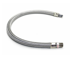 "24"" by 3/8"" S.S. Leader Hose w/ Check Valve (3/8"" M to 3/8"" M, NPT, Swivel)"