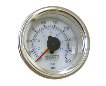 Viair 220 Psi Dual Needle White Face Gauge with Back Light 90081, sold each!