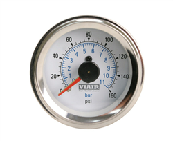 Viair 160 Psi Dual Needle White Face Gauge with Back Light 90083, sold each!