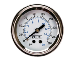 Viair 220 Psi Max Single Needle White Face Gauge with Backlight 90089, sold each!