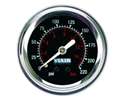 Viair 220 Psi Max Single Needle Black Face Gauge with Backlight 90090, sold each!