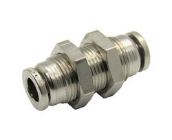 "Nickel Plated Brass 1/4"" PTC Bulk Head Union"