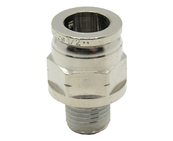 "3/8"" PTC X 3/8"" NPT Nickel Plated Brass Male Connector"